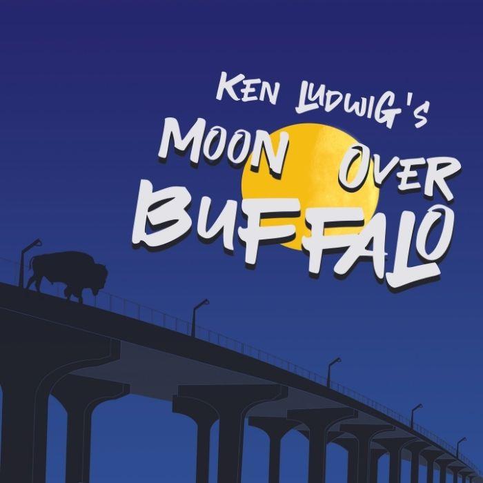 Ken Ludwig's Moon Over Buffalo: Buffalo walks over the Buffalo Bridge, with moon in sky